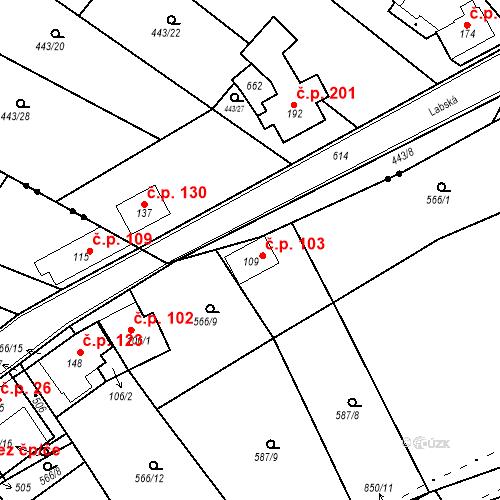 Katastrální mapa Stavební objekt Kozly 103, Tišice