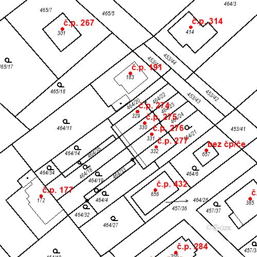 Katastrální mapa Stavební objekt Chrást 275, Tišice