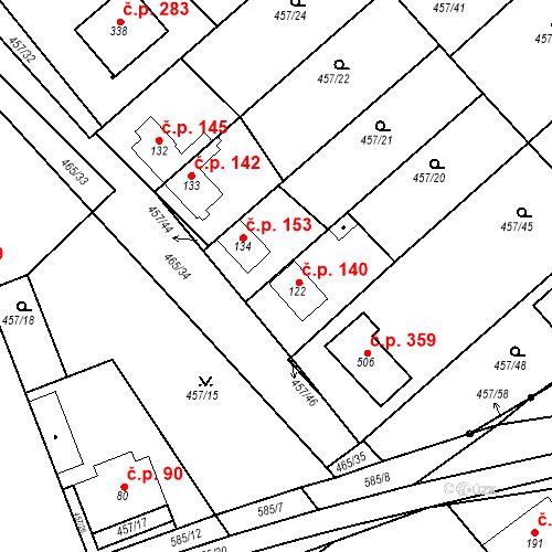 Katastrální mapa Stavební objekt Chrást 140, Tišice