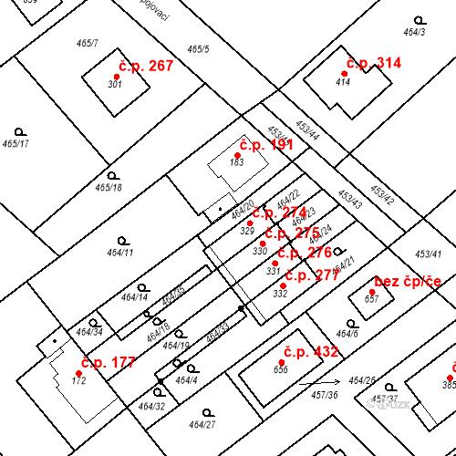 Katastrální mapa Stavební objekt Chrást 274, Tišice