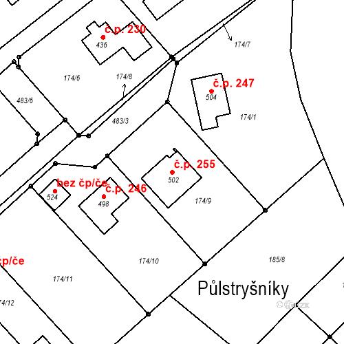 Katastrální mapa Stavební objekt Tišice 255, Tišice