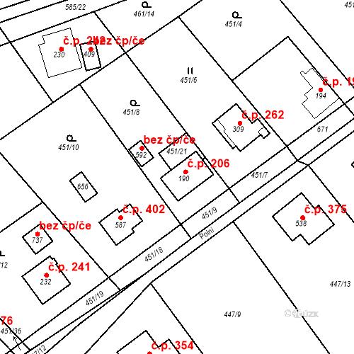 Katastrální mapa Stavební objekt Chrást 206, Tišice