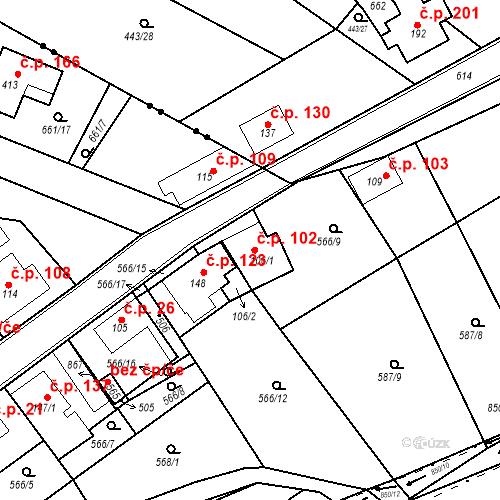 Katastrální mapa Stavební objekt Kozly 102, Tišice