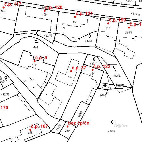 Katastrální mapa Stavební objekt Bystřice 37, Bystřice