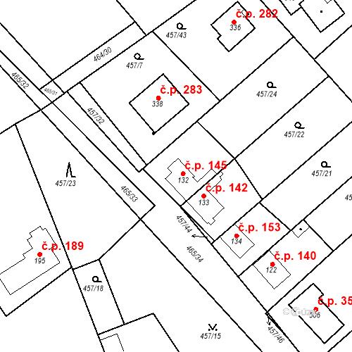 Katastrální mapa Stavební objekt Chrást 145, Tišice