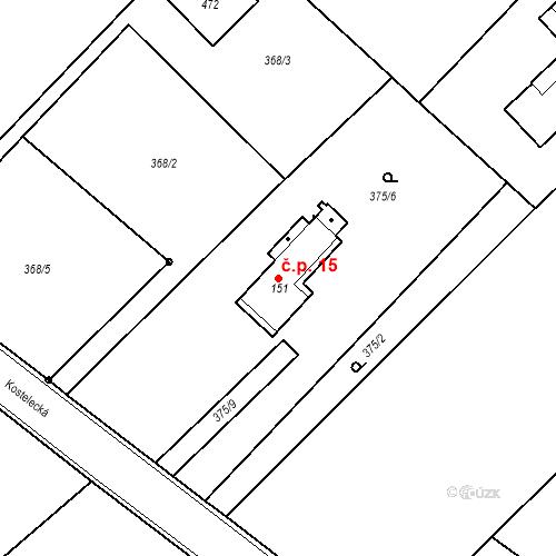 Katastrální mapa Stavební objekt Kozly 15, Tišice