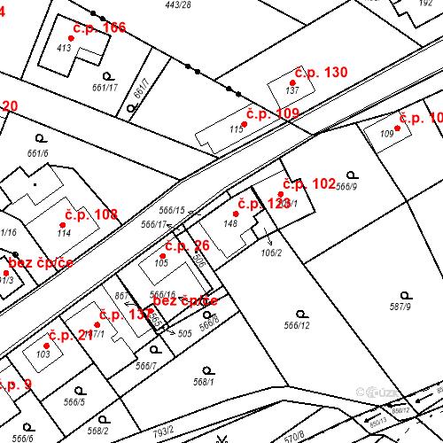 Katastrální mapa Stavební objekt Kozly 123, Tišice
