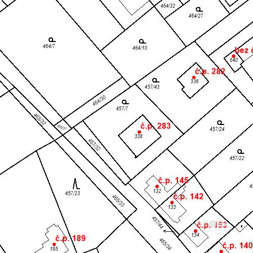 Katastrální mapa Stavební objekt Chrást 283, Tišice