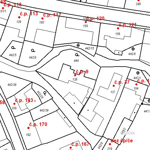 Katastrální mapa Stavební objekt Bystřice 9, Bystřice