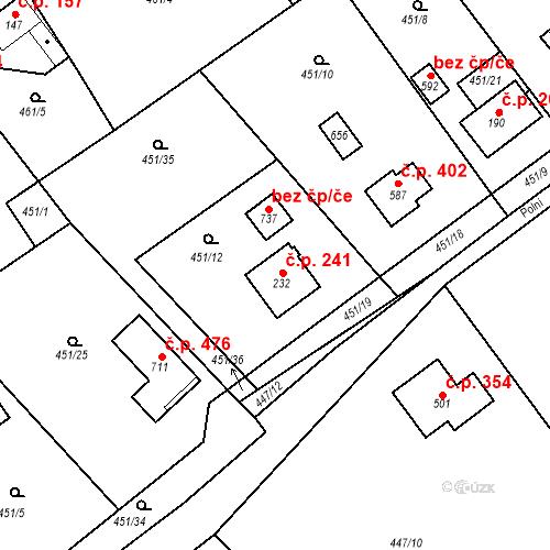 Katastrální mapa Stavební objekt Chrást 241, Tišice