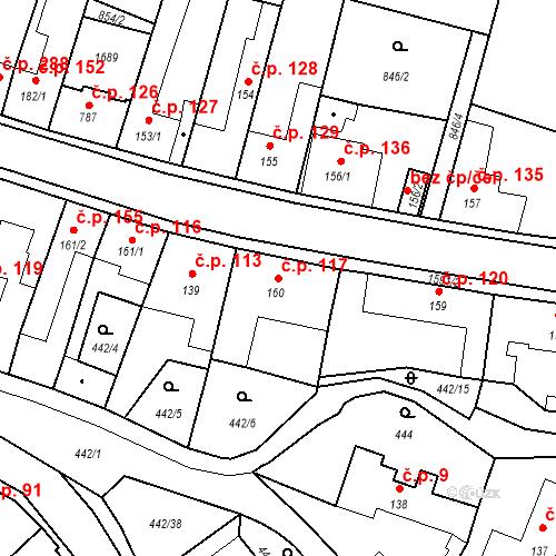 Katastrální mapa Stavební objekt Bystřice 117, Bystřice