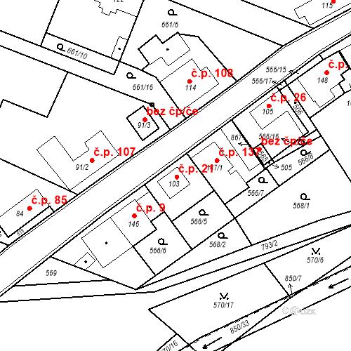 Katastrální mapa Stavební objekt Kozly 21, Tišice