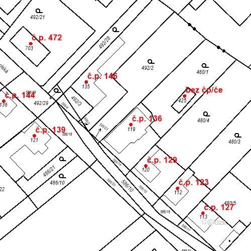 Katastrální mapa Stavební objekt Chrást 136, Tišice