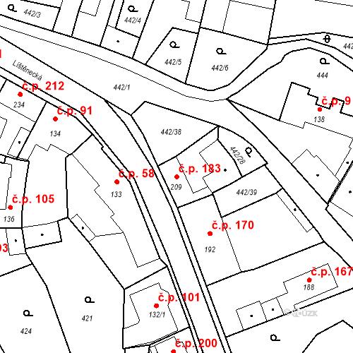 Katastrální mapa Stavební objekt Bystřice 183, Bystřice
