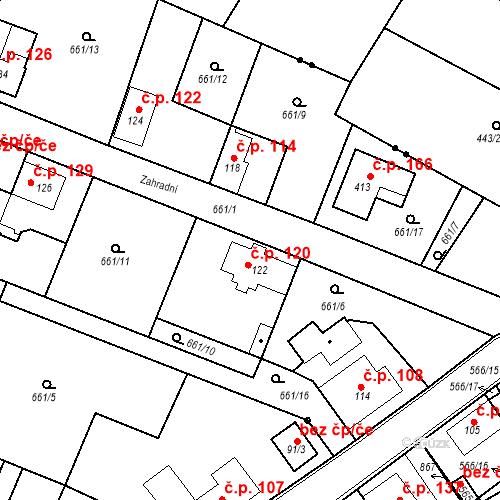 Katastrální mapa Stavební objekt Kozly 120, Tišice