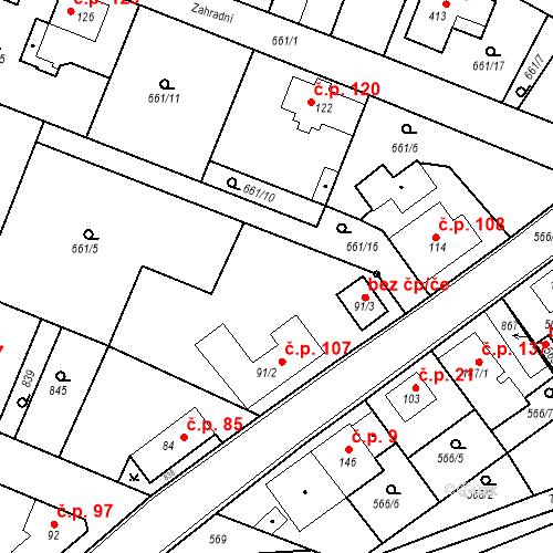 Katastrální mapa Stavební objekt Kozly 107, Tišice