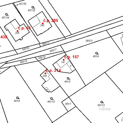 Katastrální mapa Stavební objekt Chrást 157, Tišice