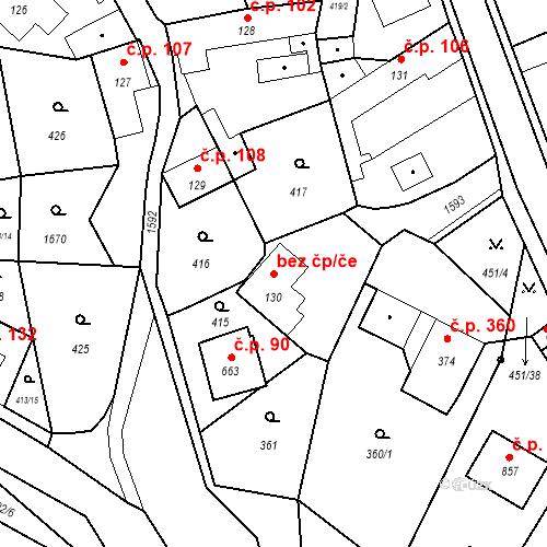 Katastrální mapa Stavební objekt Bystřice 90, Bystřice