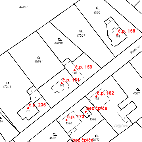 Katastrální mapa Stavební objekt Chrást 159, Tišice