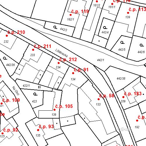 Katastrální mapa Stavební objekt Bystřice 91, Bystřice