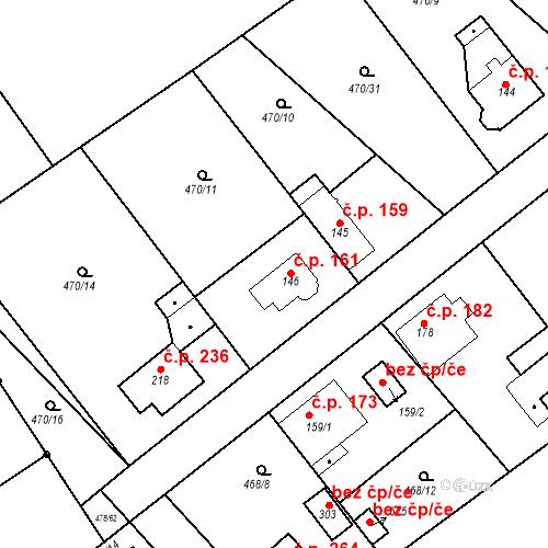 Katastrální mapa Stavební objekt Chrást 161, Tišice