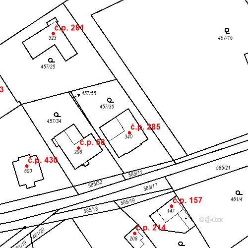 Katastrální mapa Stavební objekt Chrást 285, Tišice