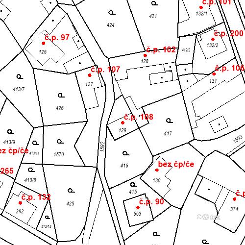 Katastrální mapa Stavební objekt Bystřice 108, Bystřice