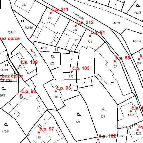 Katastrální mapa Stavební objekt Bystřice 105, Bystřice
