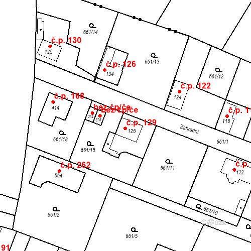 Katastrální mapa Stavební objekt Kozly 129, Tišice