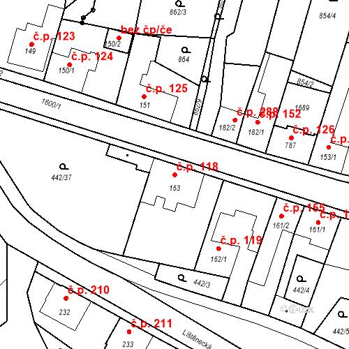 Katastrální mapa Stavební objekt Bystřice 118, Bystřice