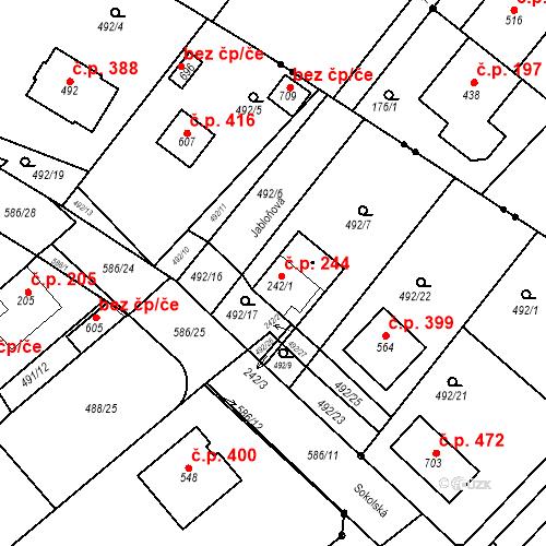 Katastrální mapa Stavební objekt Chrást 244, Tišice