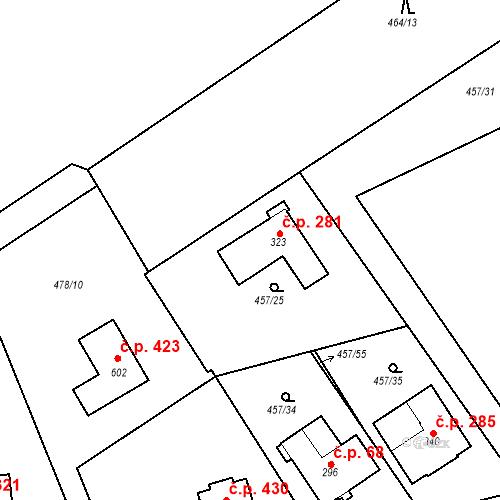 Katastrální mapa Stavební objekt Chrást 281, Tišice