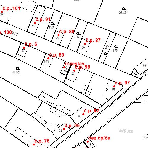 Katastrální mapa Stavební objekt Kozly 98, Tišice