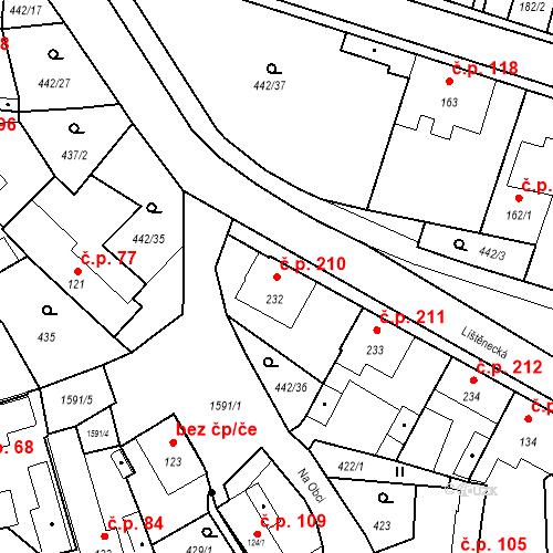 Katastrální mapa Stavební objekt Bystřice 210, Bystřice
