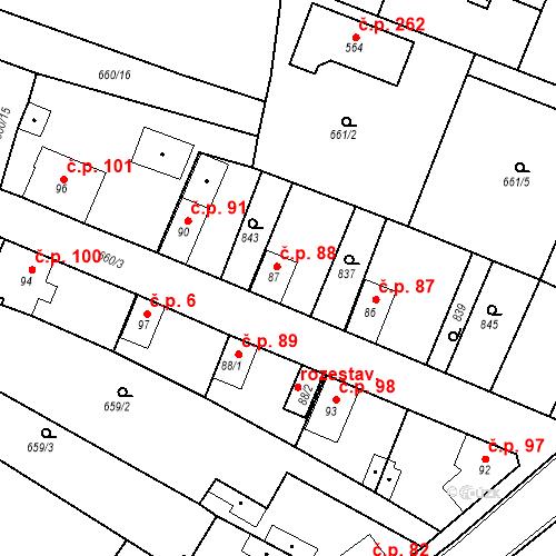 Katastrální mapa Stavební objekt Kozly 88, Tišice