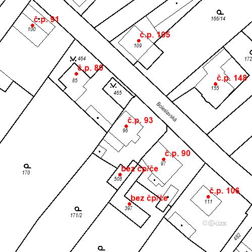 Katastrální mapa Stavební objekt Tišice 93, Tišice