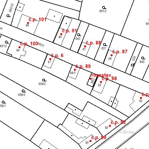 Katastrální mapa Stavební objekt Kozly 89, Tišice