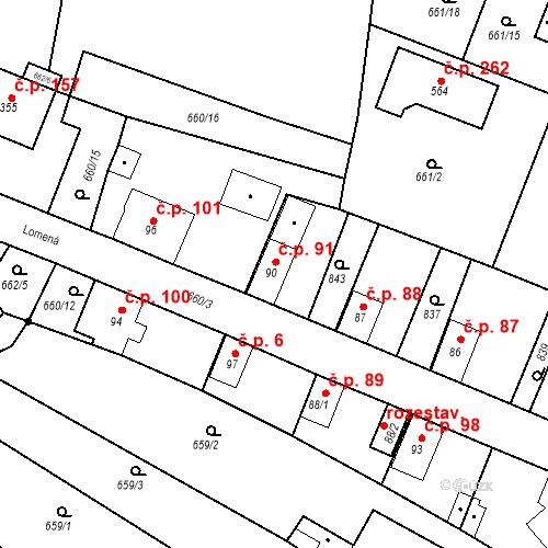 Katastrální mapa Stavební objekt Kozly 91, Tišice