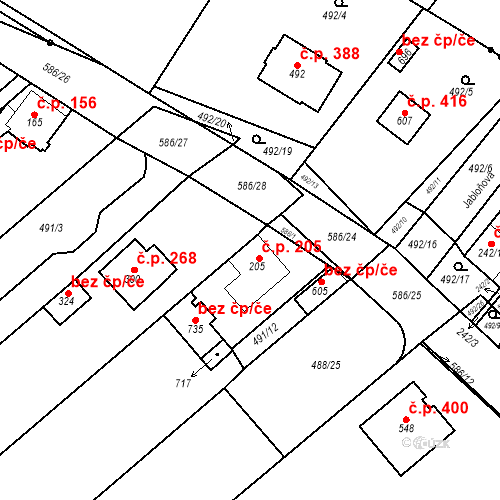 Katastrální mapa Stavební objekt Chrást 205, Tišice