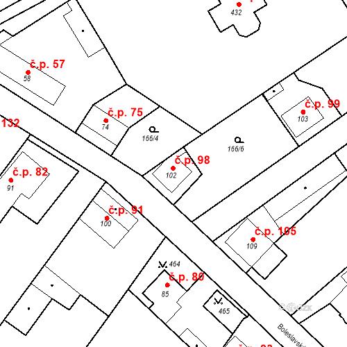 Katastrální mapa Stavební objekt Tišice 98, Tišice