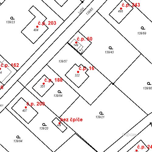Katastrální mapa Stavební objekt Tišice 16, Tišice