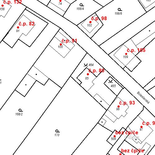 Katastrální mapa Stavební objekt Tišice 80, Tišice