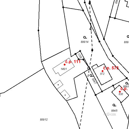 Katastrální mapa Stavební objekt Bystřice 111, Bystřice