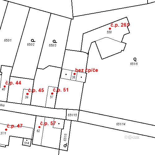 Katastrální mapa Stavební objekt Kozly 50, Tišice