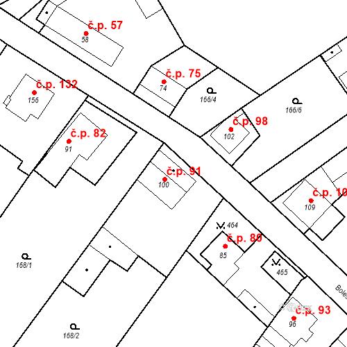 Katastrální mapa Stavební objekt Tišice 91, Tišice