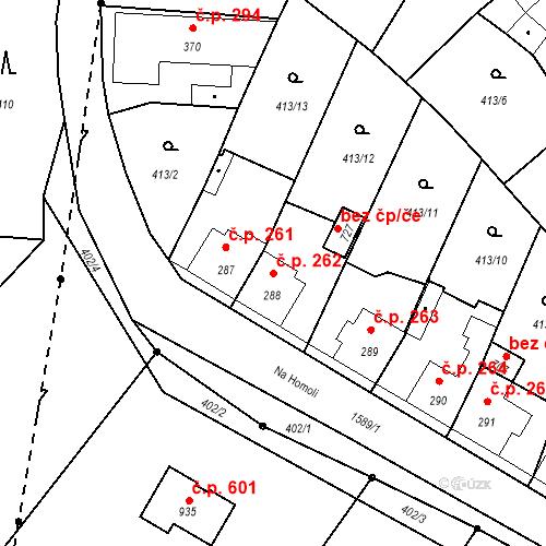 Katastrální mapa Stavební objekt Bystřice 262, Bystřice