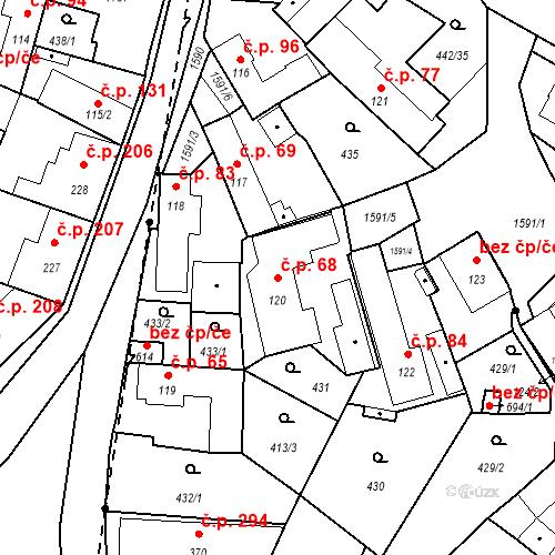 Katastrální mapa Stavební objekt Bystřice 68, Bystřice