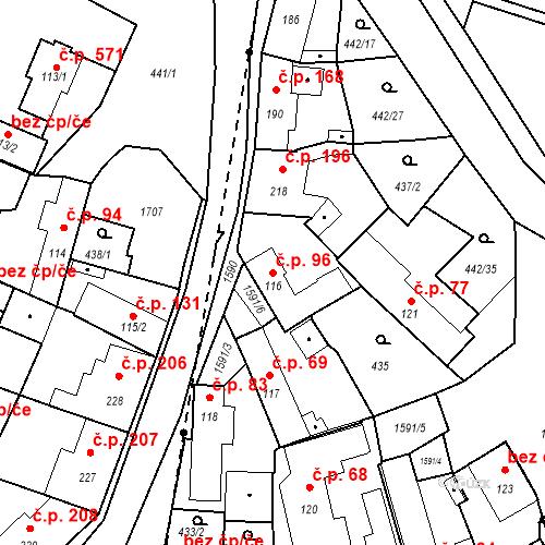 Katastrální mapa Stavební objekt Bystřice 96, Bystřice