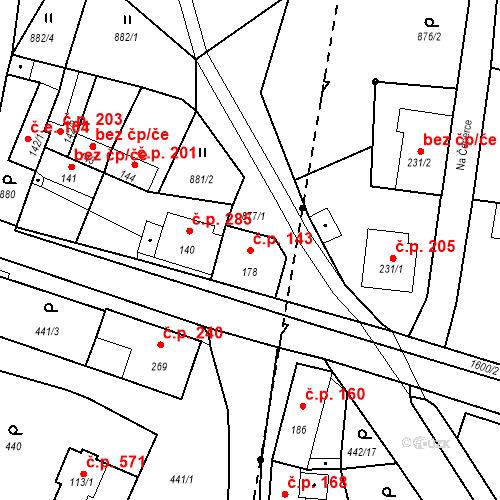 Katastrální mapa Stavební objekt Bystřice 143, Bystřice