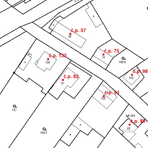Katastrální mapa Stavební objekt Tišice 82, Tišice